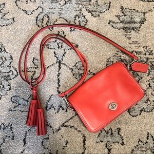 Coach Red Leather Cross Body Bag